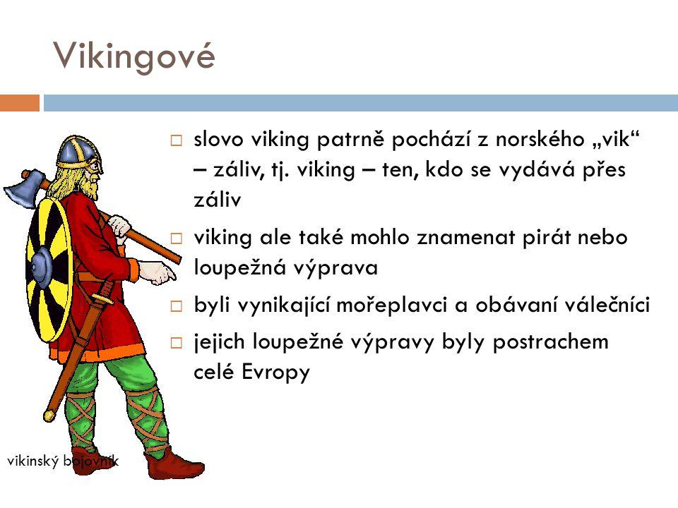 """Vikingové slovo viking patrně pochází z norského """"vik – záliv, tj. viking – ten, kdo se vydává přes záliv."""