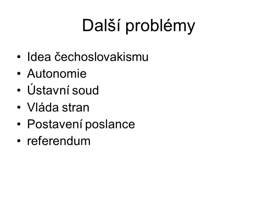 Další problémy Idea čechoslovakismu Autonomie Ústavní soud Vláda stran