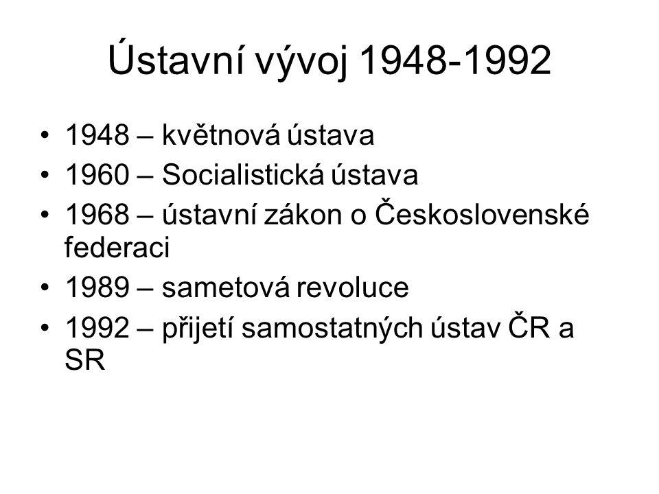 Ústavní vývoj 1948-1992 1948 – květnová ústava