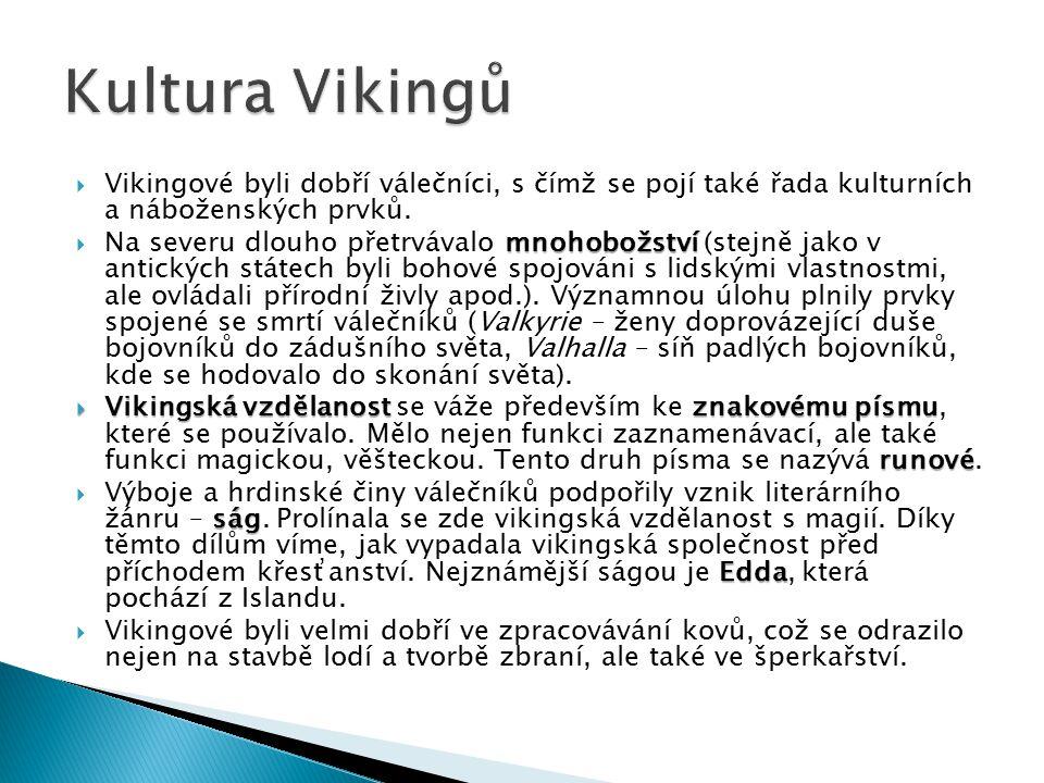 Kultura Vikingů Vikingové byli dobří válečníci, s čímž se pojí také řada kulturních a náboženských prvků.