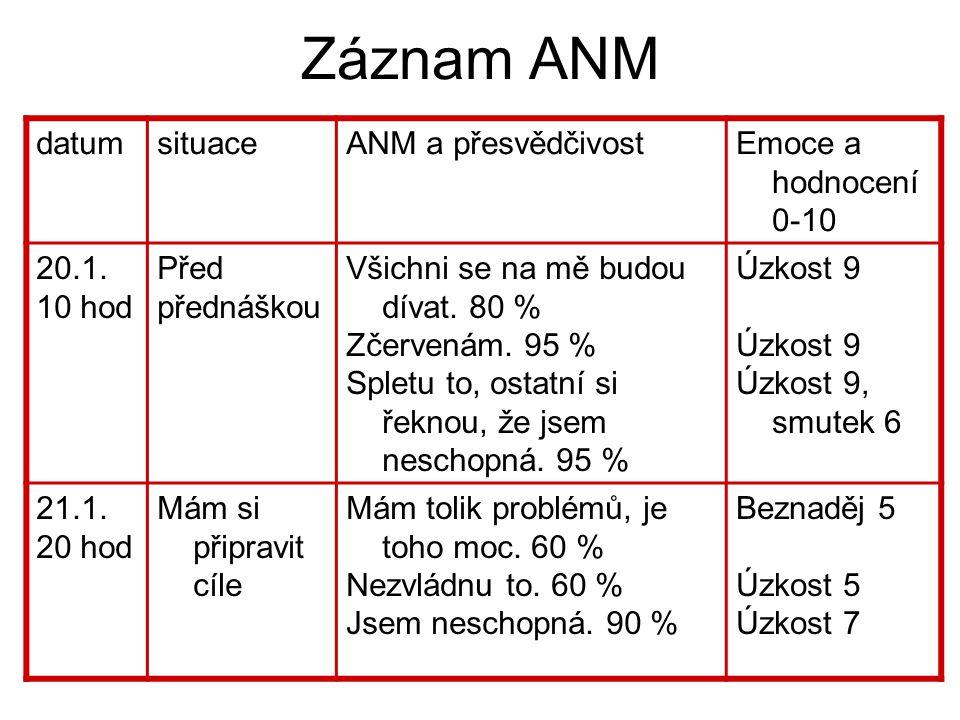 Záznam ANM datum situace ANM a přesvědčivost Emoce a hodnocení 0-10
