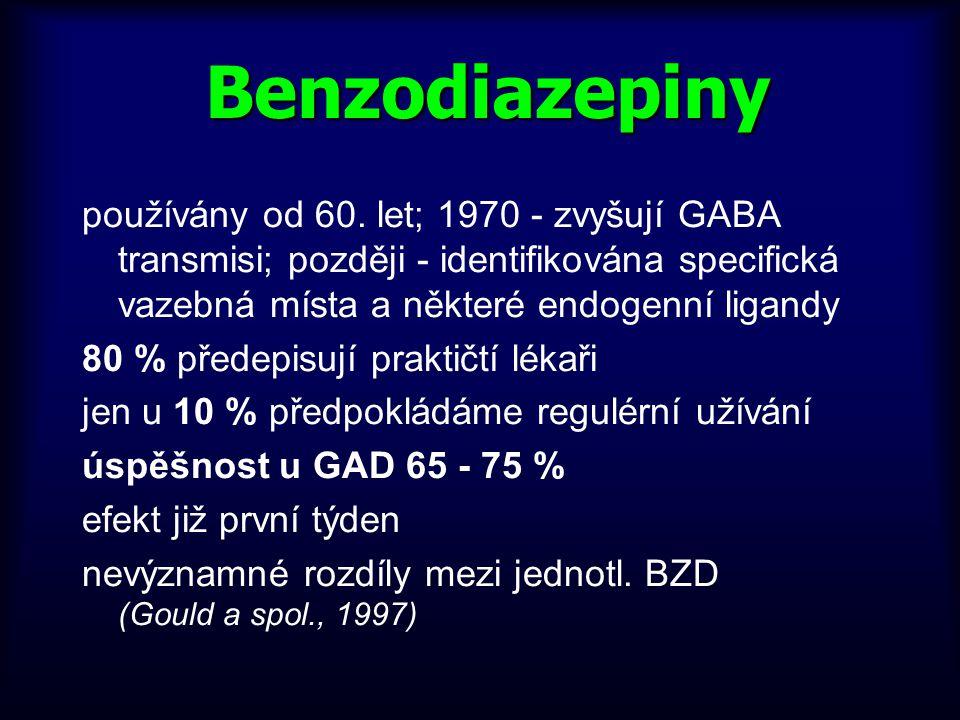 Benzodiazepiny používány od 60. let; 1970 - zvyšují GABA transmisi; později - identifikována specifická vazebná místa a některé endogenní ligandy.