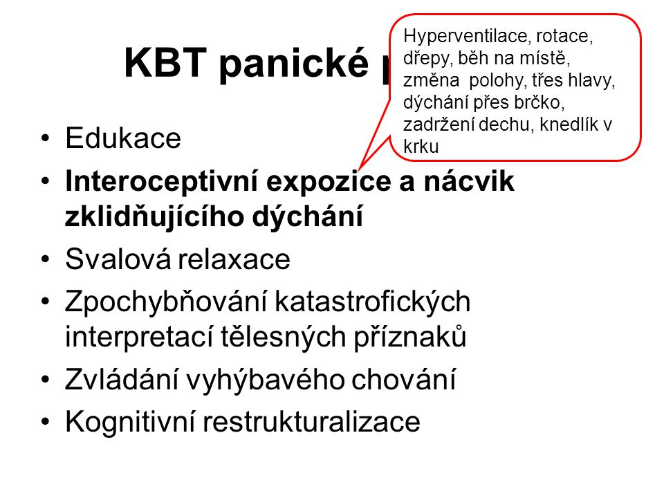 KBT panické poruchy Edukace