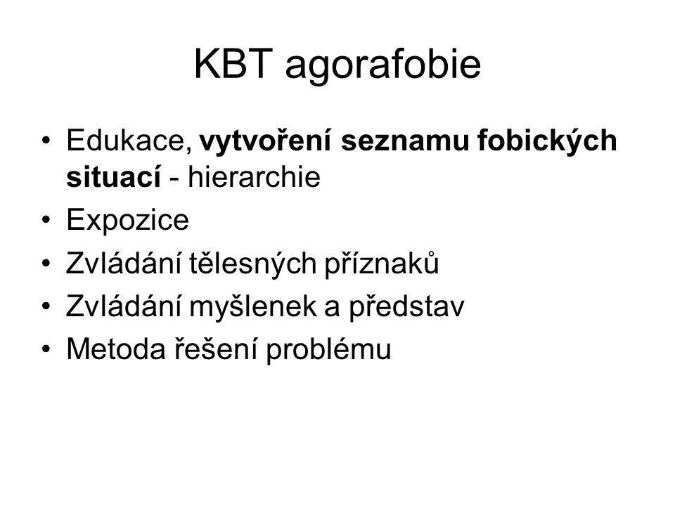 KBT agorafobie Edukace, vytvoření seznamu fobických situací - hierarchie. Expozice. Zvládání tělesných příznaků.