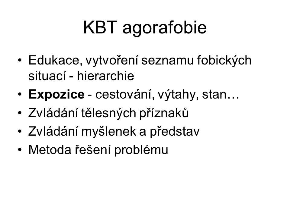 KBT agorafobie Edukace, vytvoření seznamu fobických situací - hierarchie. Expozice - cestování, výtahy, stan…