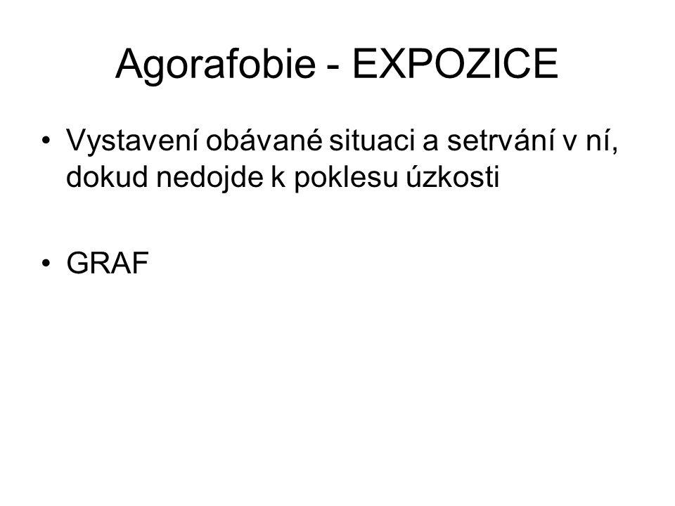 Agorafobie - EXPOZICE Vystavení obávané situaci a setrvání v ní, dokud nedojde k poklesu úzkosti.
