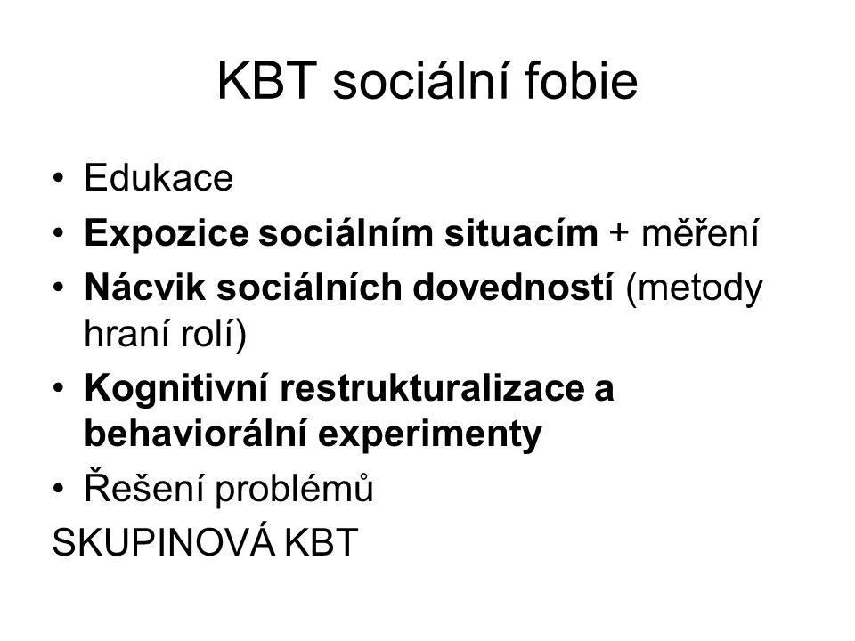 KBT sociální fobie Edukace Expozice sociálním situacím + měření