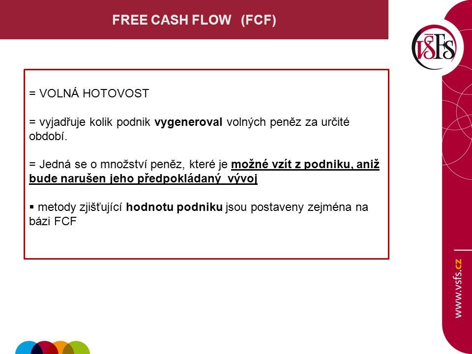 FREE CASH FLOW (FCF) = VOLNÁ HOTOVOST