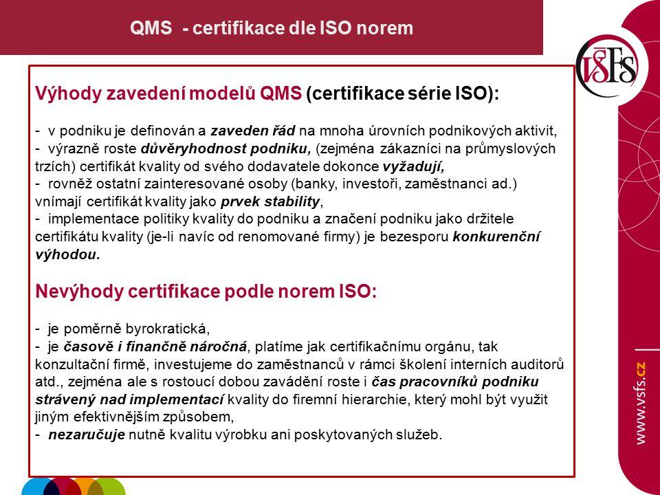 QMS - certifikace dle ISO norem