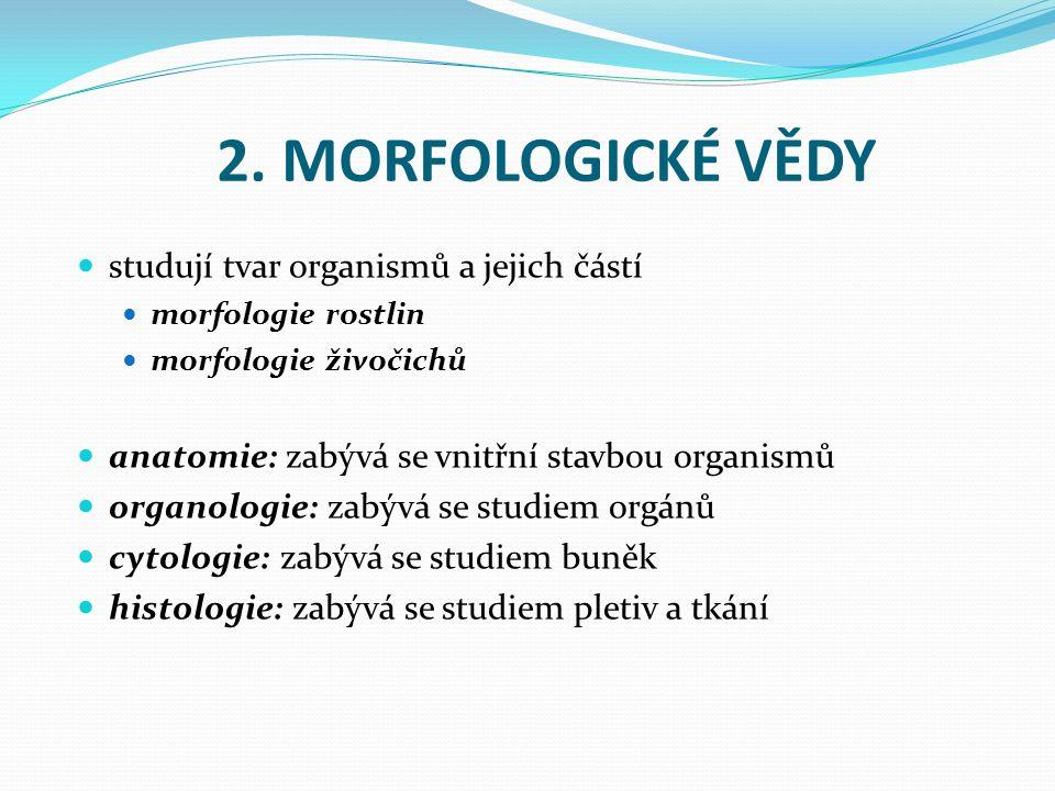 2. MORFOLOGICKÉ VĚDY studují tvar organismů a jejich částí