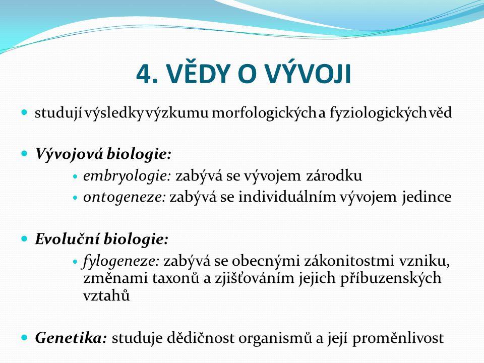 4. VĚDY O VÝVOJI Vývojová biologie: