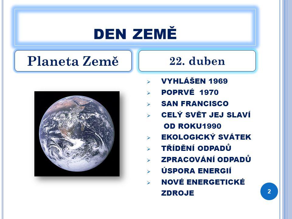 den země Planeta Země 22. duben VYHLÁŠEN 1969 POPRVÉ 1970