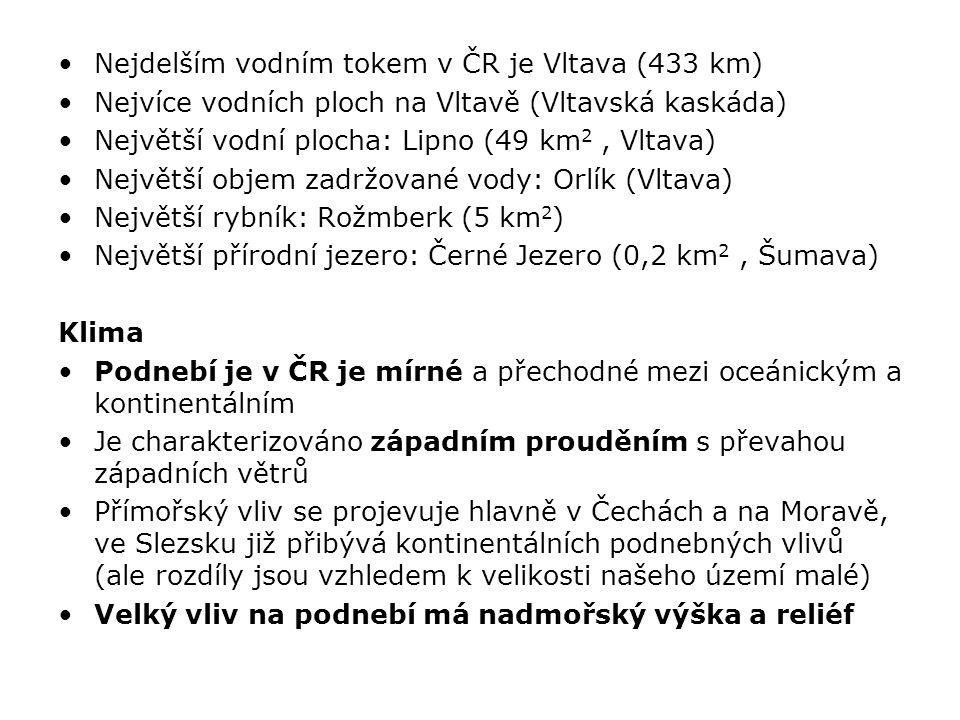 Nejdelším vodním tokem v ČR je Vltava (433 km)