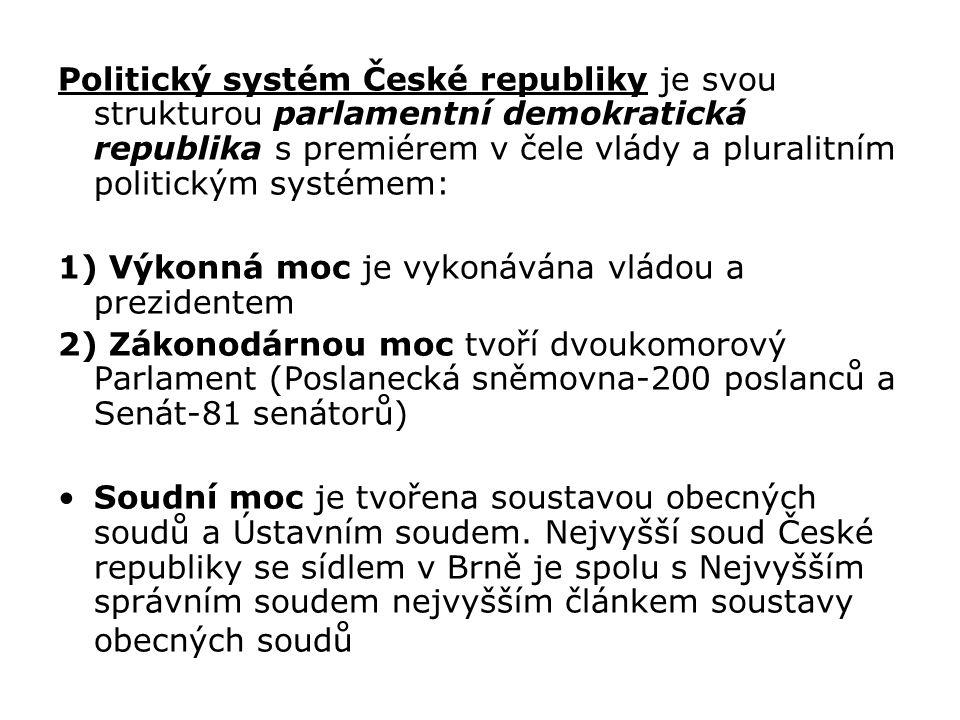 Politický systém České republiky je svou strukturou parlamentní demokratická republika s premiérem v čele vlády a pluralitním politickým systémem: