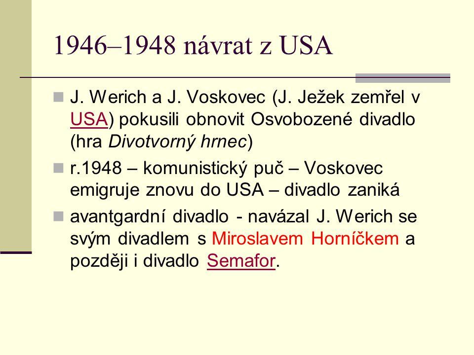1946–1948 návrat z USA J. Werich a J. Voskovec (J. Ježek zemřel v USA) pokusili obnovit Osvobozené divadlo (hra Divotvorný hrnec)