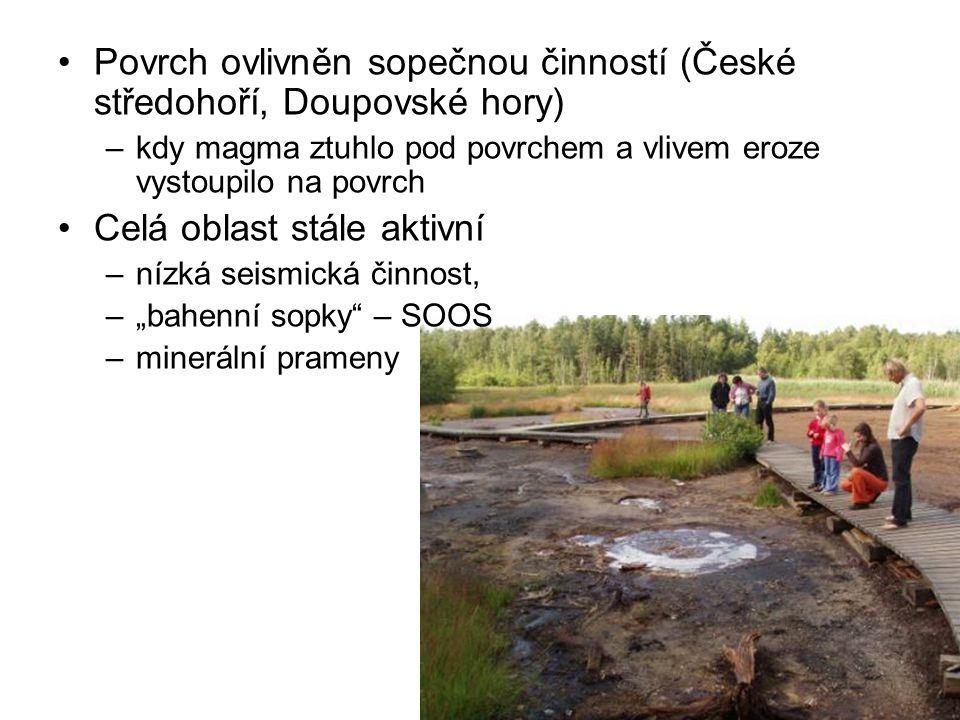 Povrch ovlivněn sopečnou činností (České středohoří, Doupovské hory)