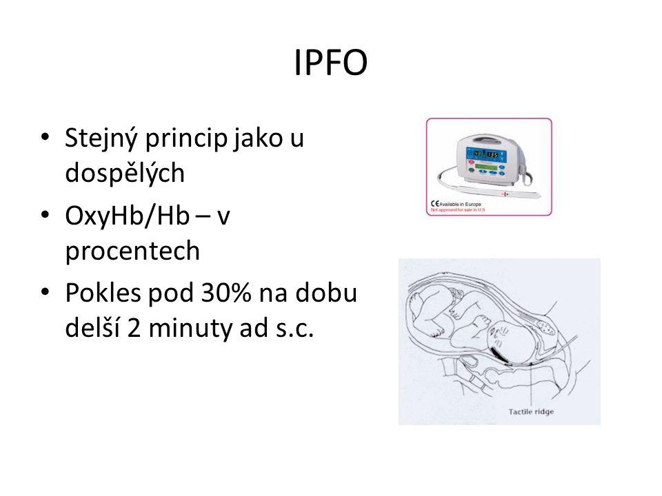 IPFO Stejný princip jako u dospělých OxyHb/Hb – v procentech