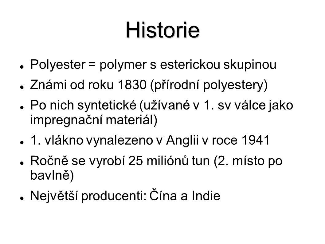 Historie Polyester = polymer s esterickou skupinou