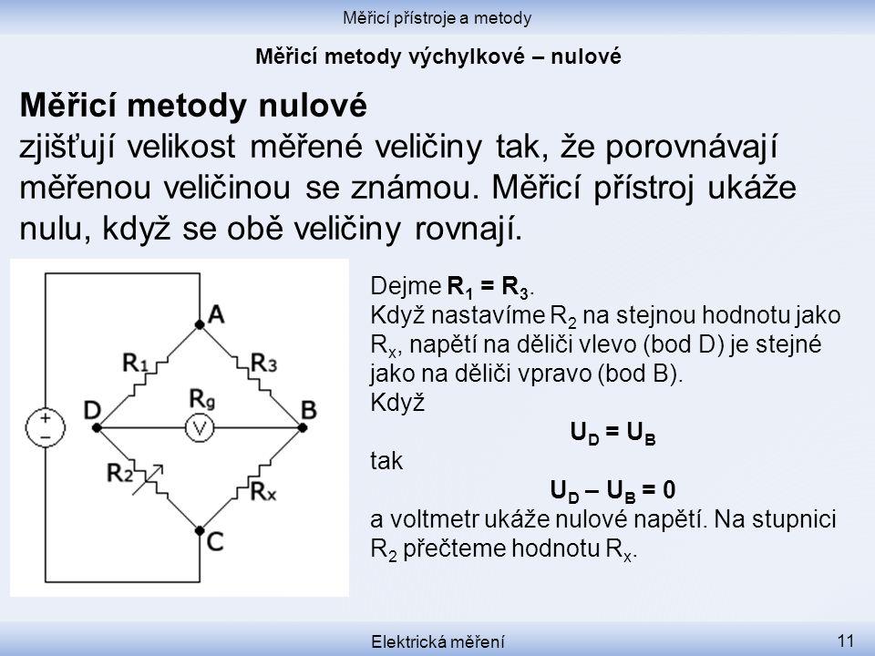Měřicí metody výchylkové – nulové