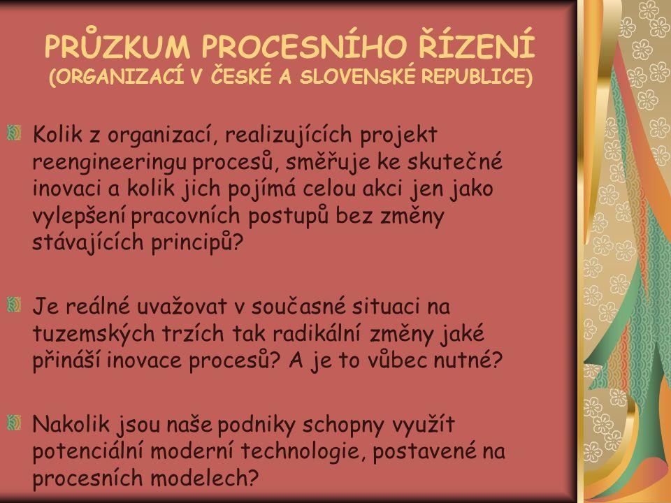 PRŮZKUM PROCESNÍHO ŘÍZENÍ (ORGANIZACÍ V ČESKÉ A SLOVENSKÉ REPUBLICE)