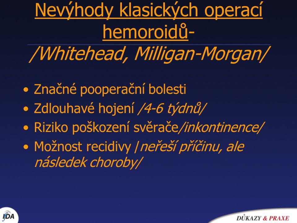 Nevýhody klasických operací hemoroidů- /Whitehead, Milligan-Morgan/