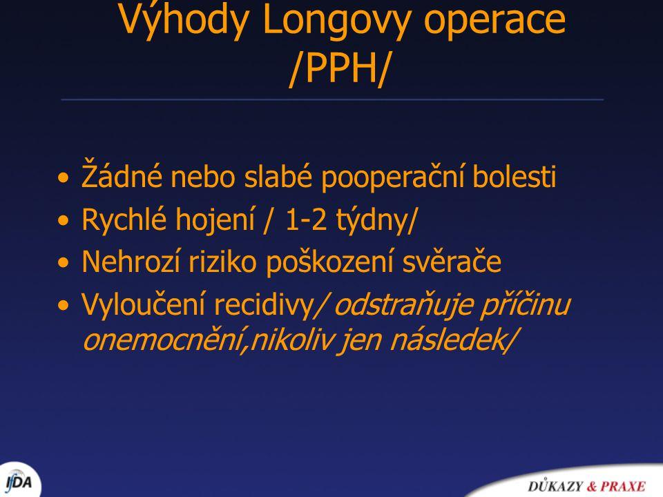 Výhody Longovy operace /PPH/