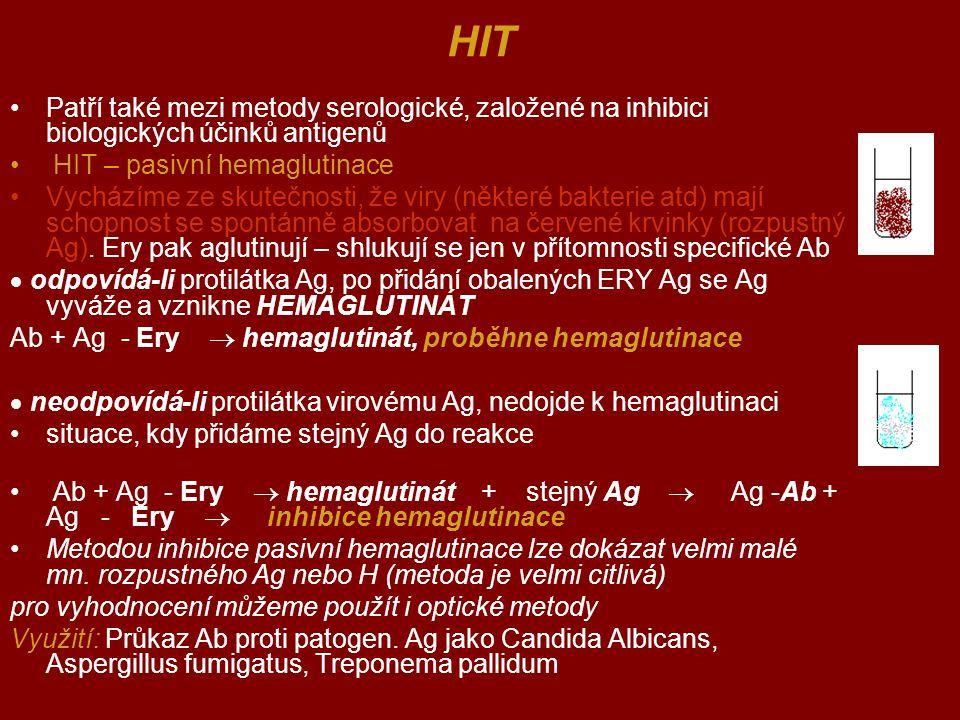 HIT Patří také mezi metody serologické, založené na inhibici biologických účinků antigenů. HIT – pasivní hemaglutinace.