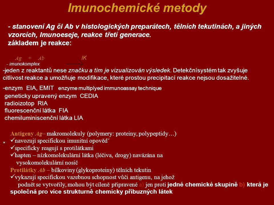 Imunochemické metody - stanovení Ag či Ab v histologických preparátech, tělních tekutinách, a jiných vzorcích, Imunoeseje, reakce třetí generace.