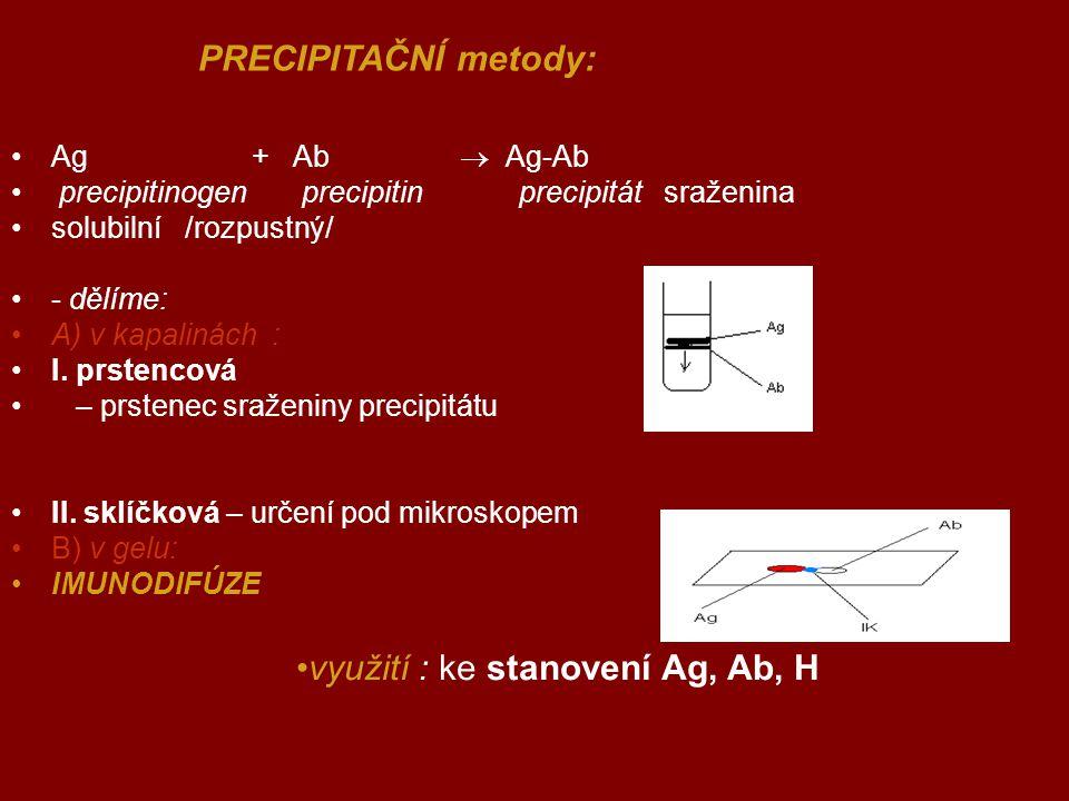 využití : ke stanovení Ag, Ab, H