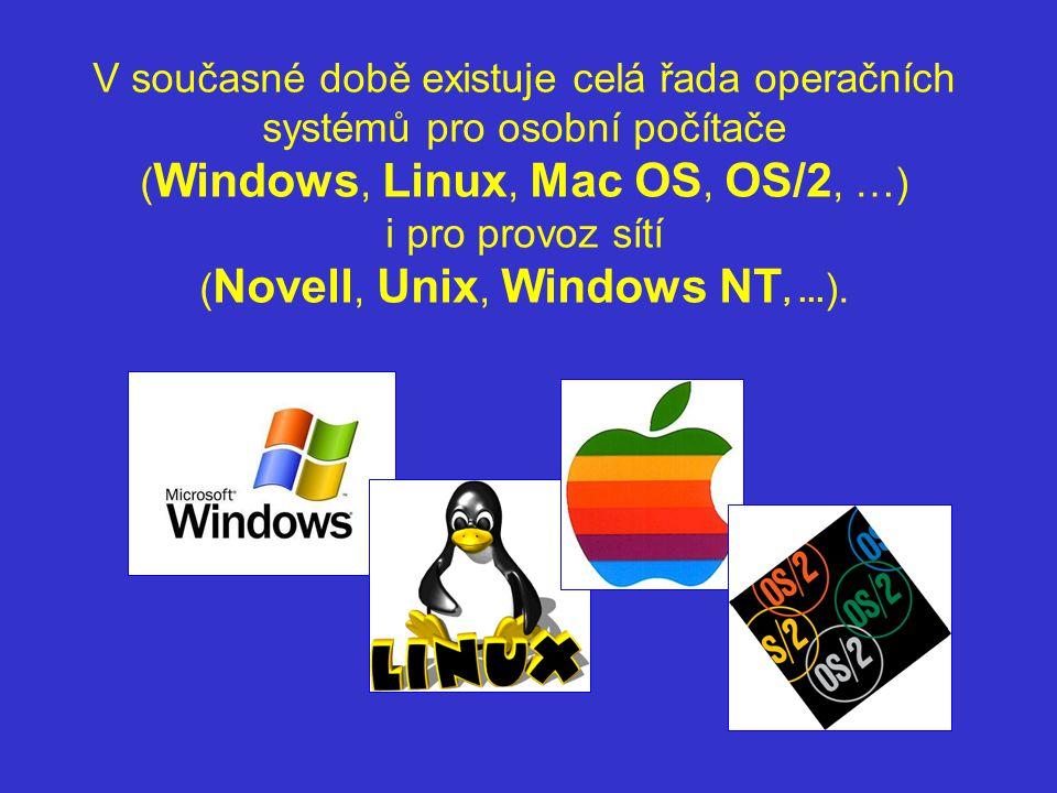 V současné době existuje celá řada operačních systémů pro osobní počítače (Windows, Linux, Mac OS, OS/2, …) i pro provoz sítí (Novell, Unix, Windows NT, ...).