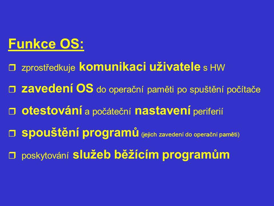 Funkce OS: zprostředkuje komunikaci uživatele s HW