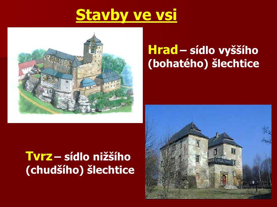 Stavby ve vsi Hrad – sídlo vyššího (bohatého) šlechtice