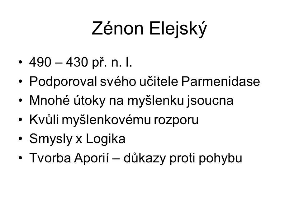Zénon Elejský 490 – 430 př. n. l. Podporoval svého učitele Parmenidase