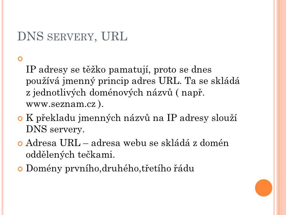 DNS servery, URL