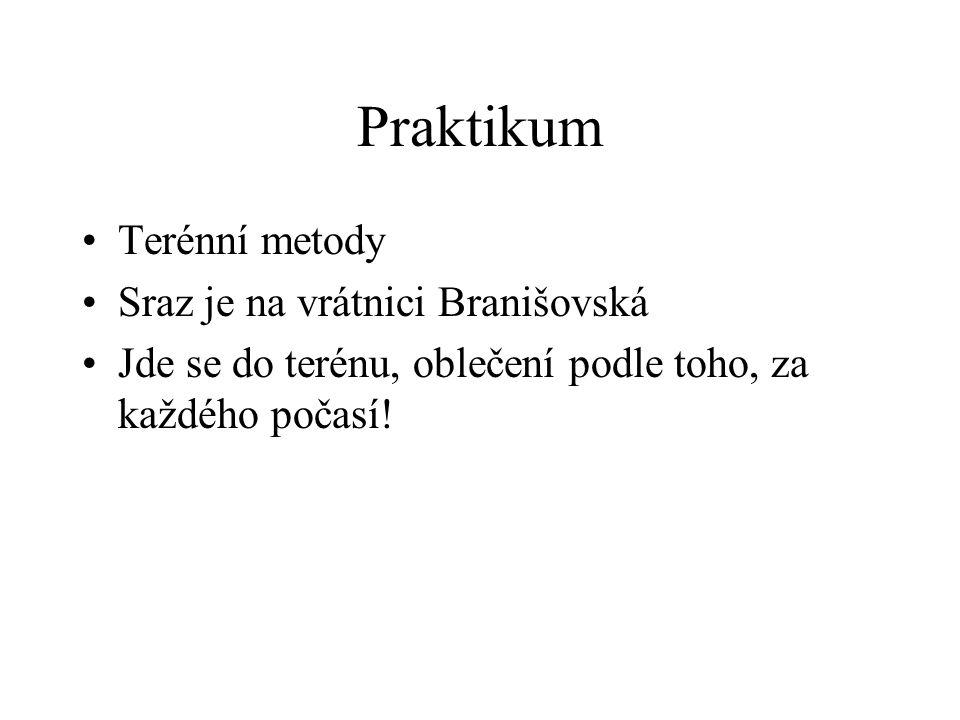 Praktikum Terénní metody Sraz je na vrátnici Branišovská