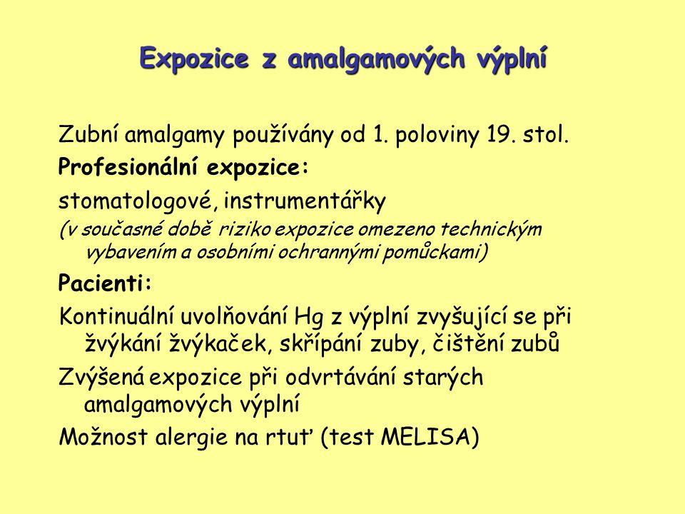 Expozice z amalgamových výplní
