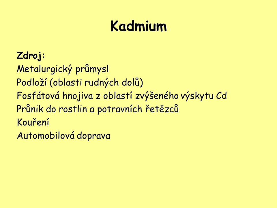 Kadmium Zdroj: Metalurgický průmysl Podloží (oblasti rudných dolů)