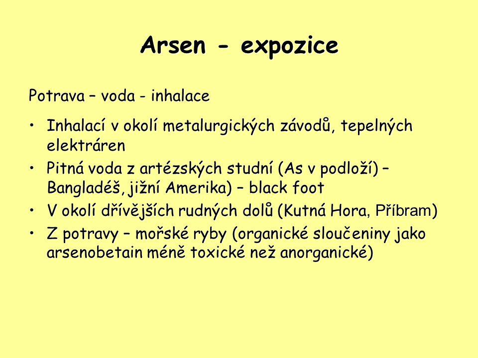 Arsen - expozice Potrava – voda - inhalace