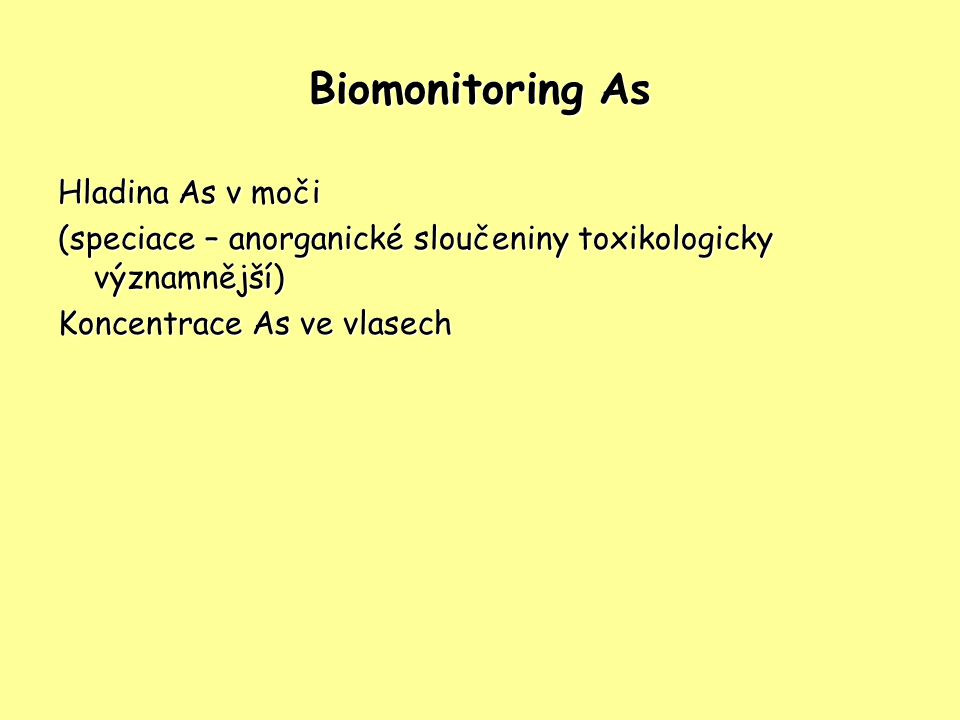 Biomonitoring As Hladina As v moči