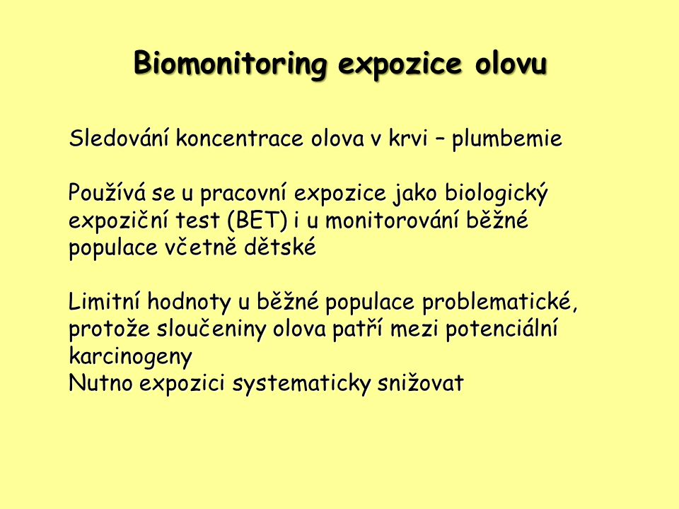 Biomonitoring expozice olovu