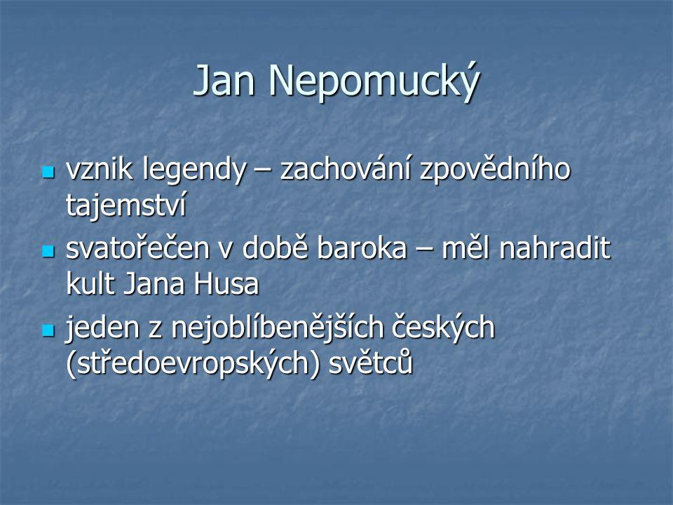 Jan Nepomucký vznik legendy – zachování zpovědního tajemství
