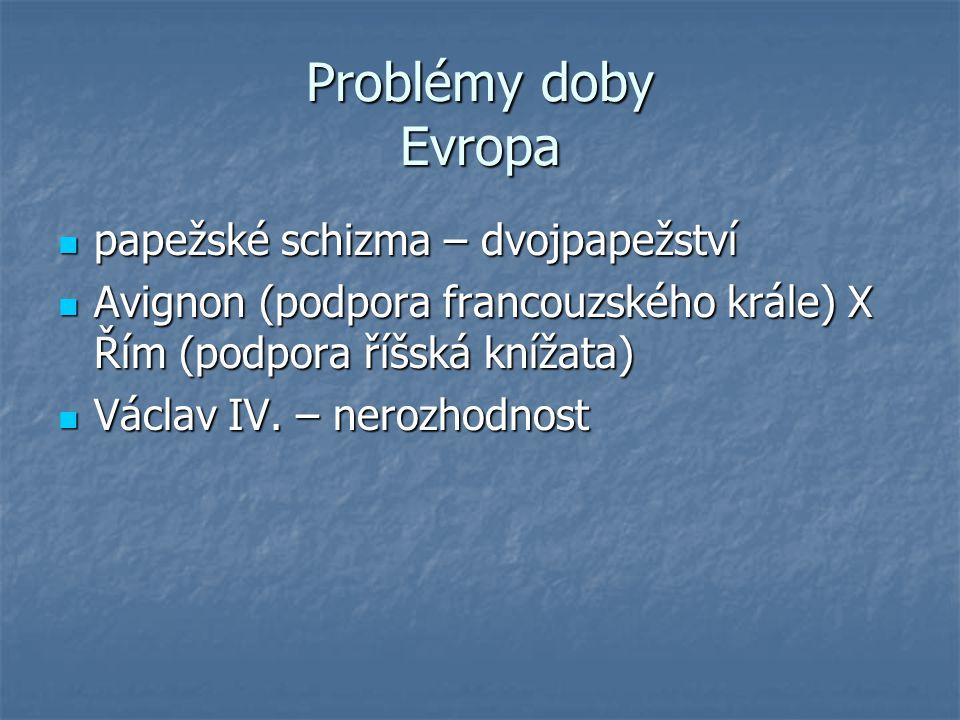Problémy doby Evropa papežské schizma – dvojpapežství