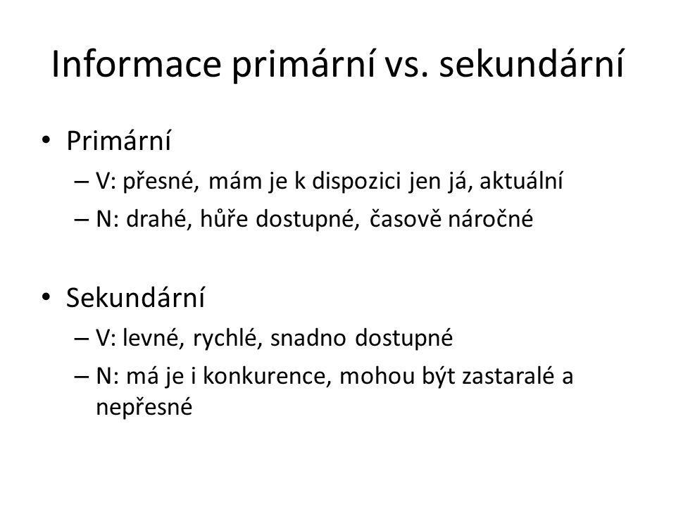 Informace primární vs. sekundární