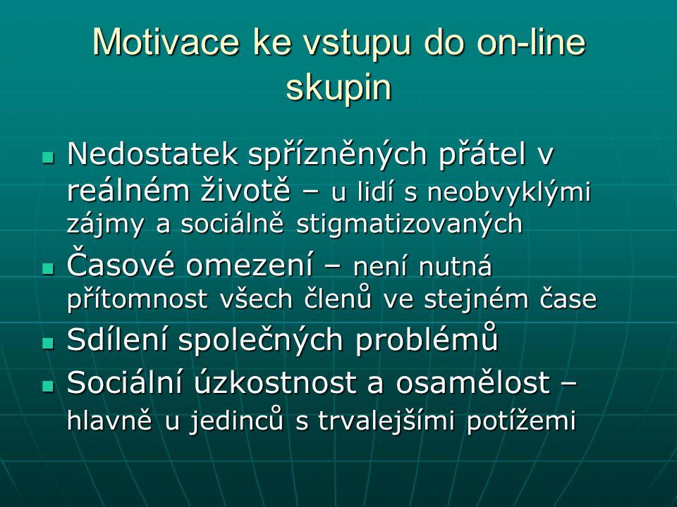 Motivace ke vstupu do on-line skupin