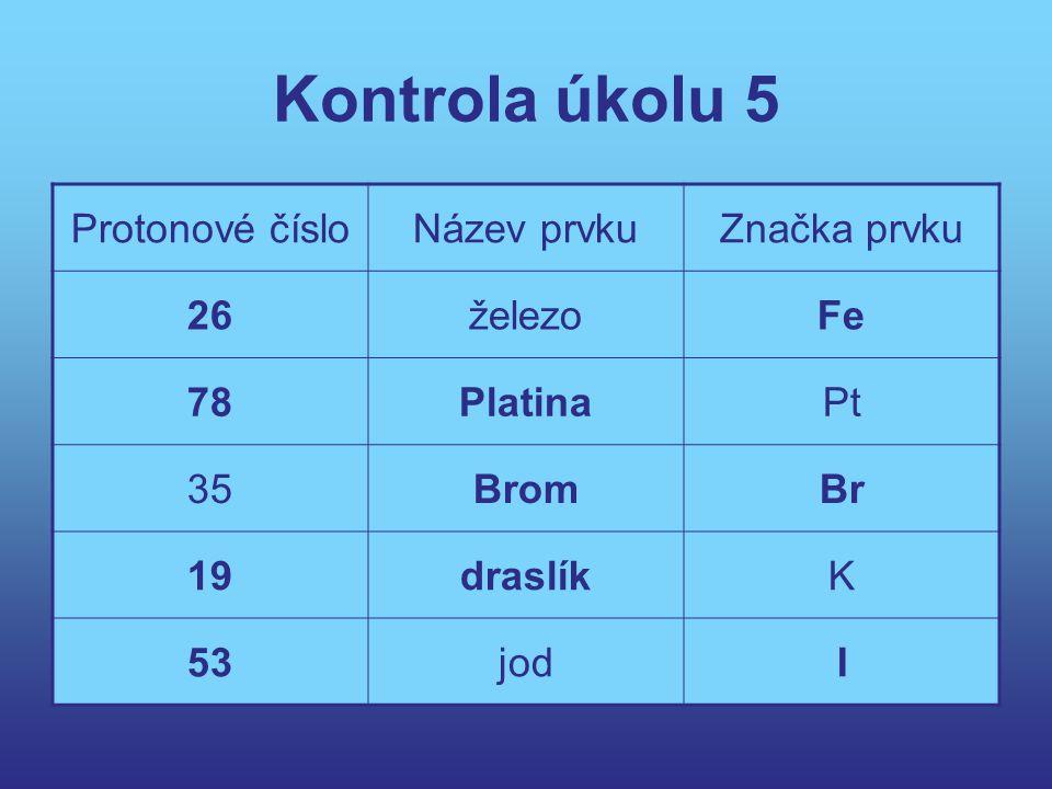 Kontrola úkolu 5 Protonové číslo Název prvku Značka prvku 26 železo Fe