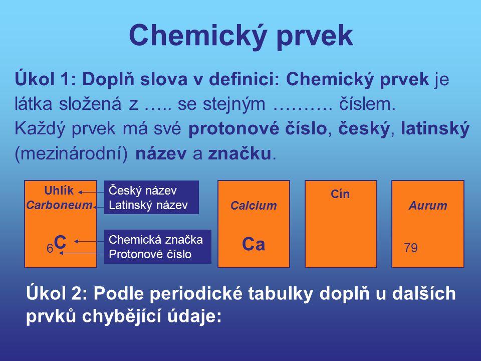 Chemický prvek Úkol 1: Doplň slova v definici: Chemický prvek je