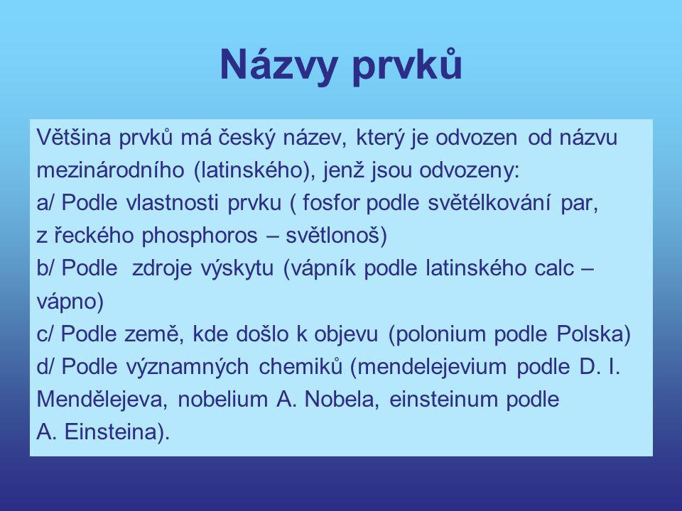 Názvy prvků Většina prvků má český název, který je odvozen od názvu
