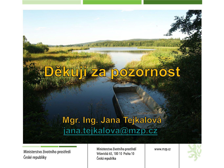 Děkuji za pozornost Mgr. Ing. Jana Tejkalová jana.tejkalova@mzp.cz