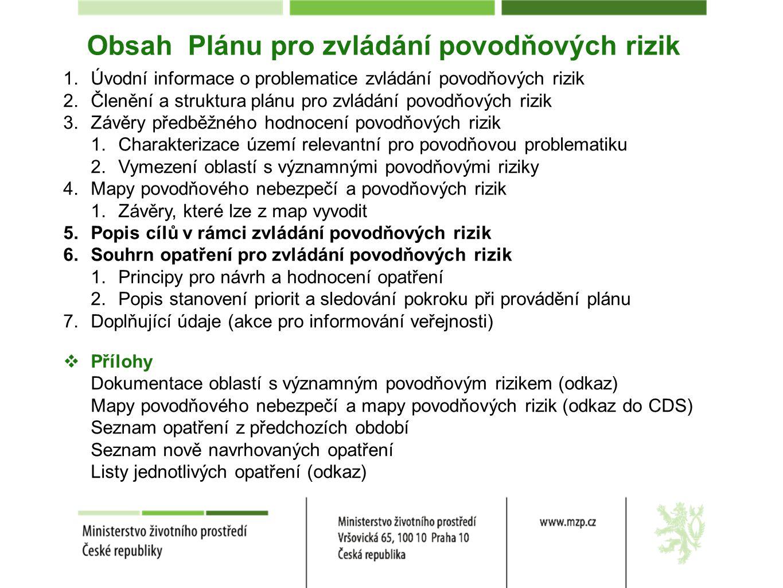Obsah Plánu pro zvládání povodňových rizik