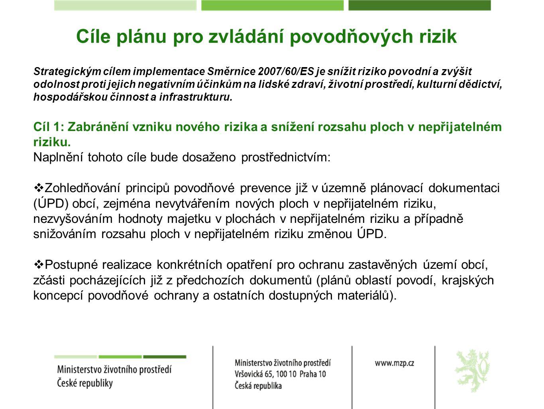 Cíle plánu pro zvládání povodňových rizik